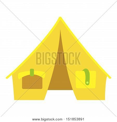 Yellow tent icon. Cartoon illustration of tent vector icon for web