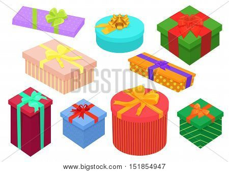 Flat design isometric gifts boxes set. Bright, colorful present and gift boxes with ribbon bows. Birthday and christmas collection