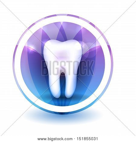 Healthy Tooth Sign, Round Shape Colorful Overlay Flower Petals At The Background