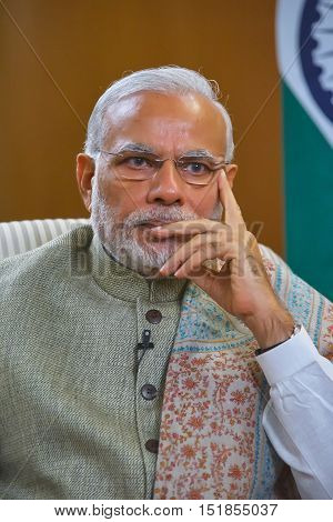 DELHIINDIA-DECEMBER 142015: Indian Prime Minister Narendra Modi during an interview with Russian television