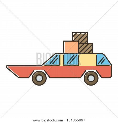 Red car with luggage and boxes icon. Flat illustration of red car with luggage and boxes vector icon for web