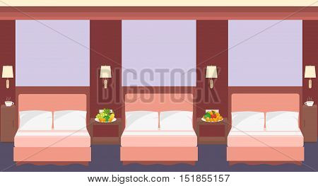 Comfortable hostel room interior in a flat style with three beds lamps fruits. Vector illustration