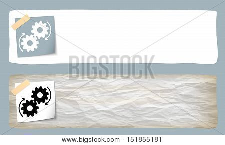 Two vector banners and the cogwheels symbol