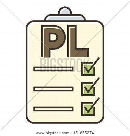 Clipboard with PL icon. Flat illustration of clipboard with PL vector icon for web