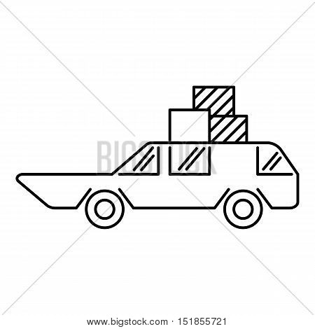 Hatchback with boxes icon. Outline illustration of hatchback with boxes vector icon for web