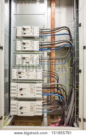 electrical cabinet with fuseboard equipment in an building