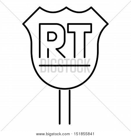 RT sign icon. Outline illustration of vector icon for web