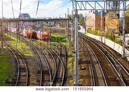 Old locomotives rzd stand on railroad tracks of technical railway station - operational locomotive depot. Transport infrastructure of Russian Railways Saint-Petersburg