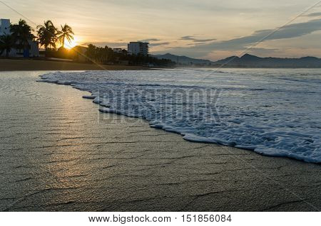 Sunrise On The Beach In Mexico. Manzanillo Colima