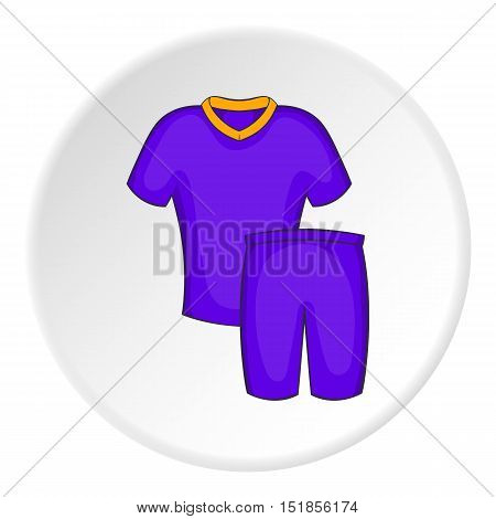 Blue football uniform icon. Cartoon illustration of football uniform vector icon for web