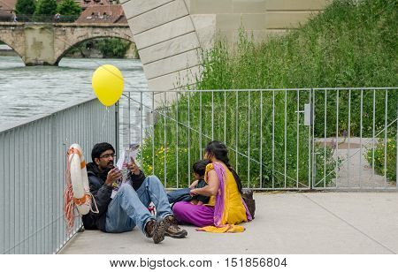 Family Of Indian Tourists At  Bern, Switzerland