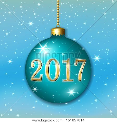 Merry Christmas 2017 decoration on blue background. 3d ball. Stars glitter number green bauble white snowflakes. Bright xmas card. Happy New Year celebration. Holiday design Vector illustration
