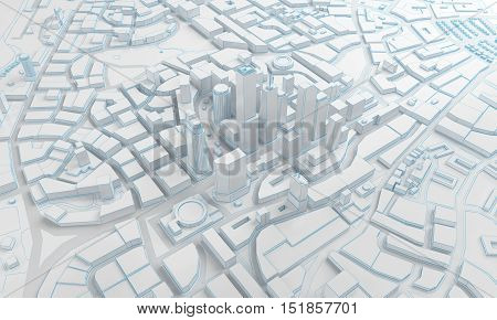 White low poly city views from above. 3d rendering