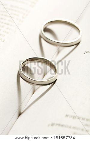 Silver Wedding Rings On The Book, Close Up