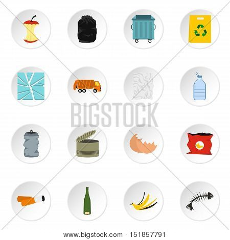 Garbage icons set. Flat illustration of 16 garbage vector icons for web