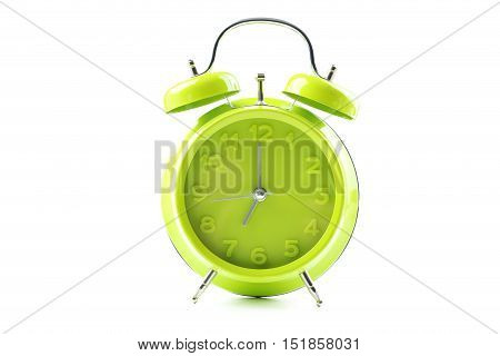 Green Alarm Clock Isolated On A White