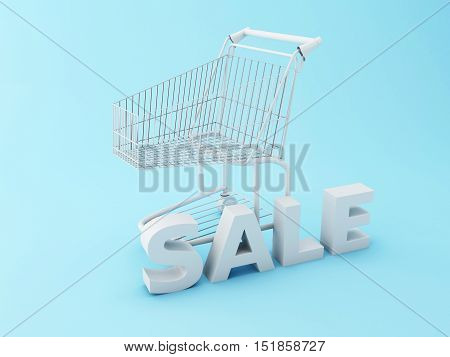 3d renderer image. Shopping cart with word sale. Sale concept.