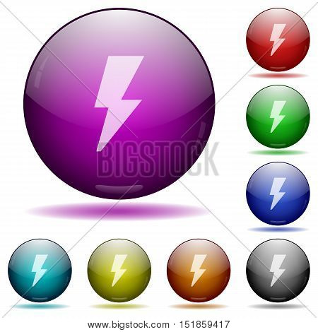Set of color flash glass sphere buttons with shadows.