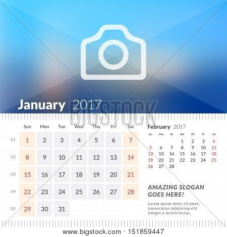 January 2017. Desk Calendar For 2017 Year. Week Starts Sunday. 2 Months On Page. Vector Design Print