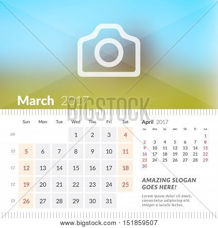 March 2017. Desk Calendar For 2017 Year. Week Starts Sunday. 2 Months On Page. Vector Design Print T