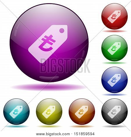 Set of color turkish Lira price label glass sphere buttons with shadows.