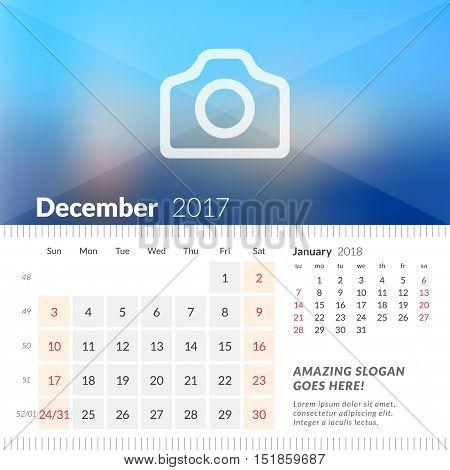 December 2017. Desk Calendar For 2017 Year. Week Starts Sunday. 2 Months On Page. Vector Design Prin