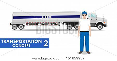 Detailed illustration of gasoline truck and driver on white background in flat style.