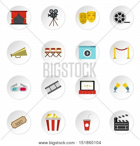 Cinema icons set. Flat illustration of 16 cinema vector icons for web