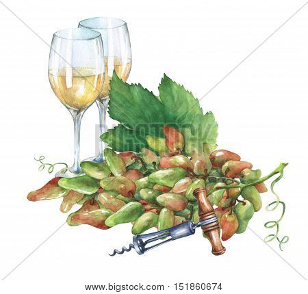 Bunch of fresh grapes,  corkscrew and glasses of  white wine . Hand drawn watercolor painting on white background.