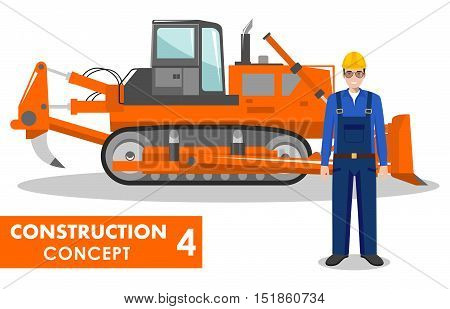 Detailed illustration of dozer and worker in flat style on white background.