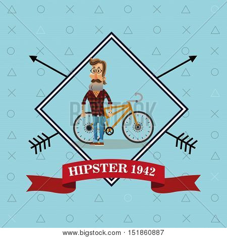 Man cartoon with mustache and bike icon inside frame. Hipster style vintage retro fashion and culture theme. Colorful design. Vector illustration