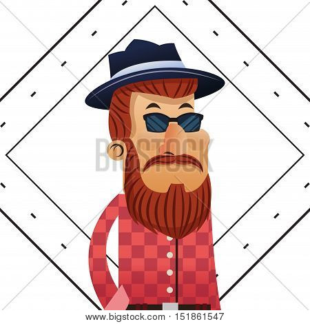 Man cartoon with mustache inside frame icon. Hipster style vintage retro fashion and culture theme. Colorful design. Vector illustration