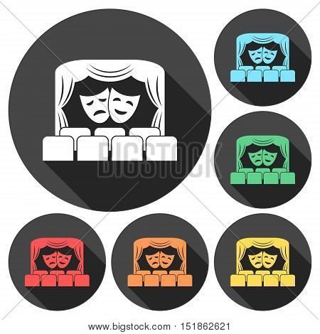 Theater logo, Theater icon, Theater stage with curtain and seats vector illustration set