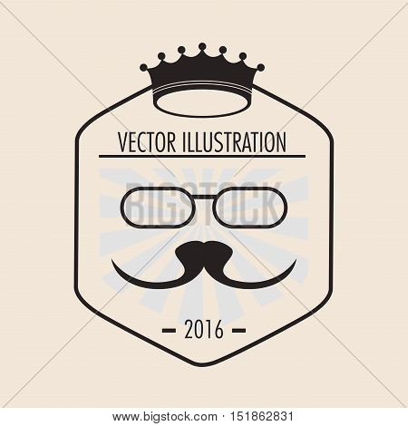 Crown glasses and mustache icon. Hipster style vintage retro fashion and culture theme. Colorful design. Vector illustration