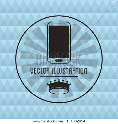 Smartphone and crown icon. Hipster style vintage retro fashion and culture theme. Colorful design. Vector illustration