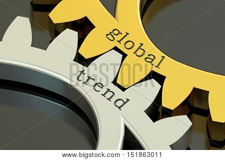 Global Trend concept on the gearwheels 3D rendering