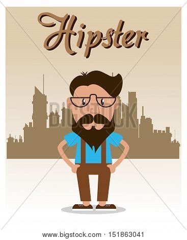 Man cartoon with mustache icon. Hipster style vintage retro fashion and culture theme. City background. Colorful design. Vector illustration