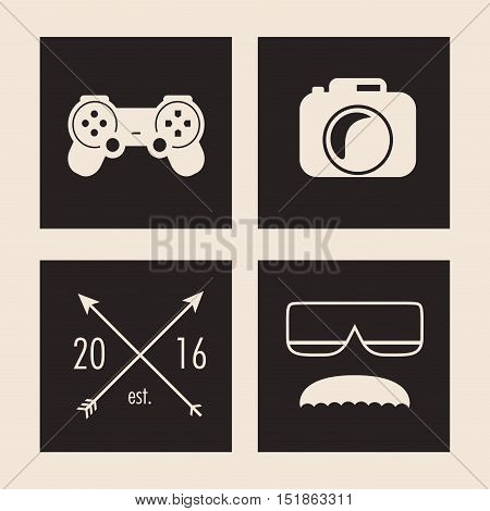 videogame camera glasses and mustache icon. Hipster style vintage retro fashion and culture theme. Colorful design. Vector illustration