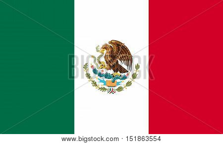 Mexican national official flag. Patriotic symbol banner element background. Accurate dimensions. Flag of Mexico in correct size and colors vector illustration