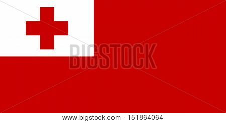 Tongan national official flag. Patriotic symbol banner element background. Accurate dimensions. Flag of Tonga in correct size and colors vector illustration