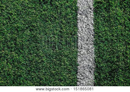 The side white line on the edge of the football field