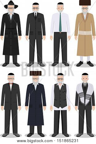 Detailed illustration of different standing jewish old men in the traditional national clothing isolated on white background in flat style.