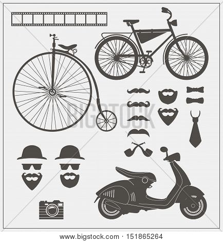 Vector collection of hipster objects and signs. Decorative design elements for card, invitation, labels and infographics.