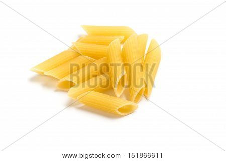 Penne. Close-up on a Pasta on white background