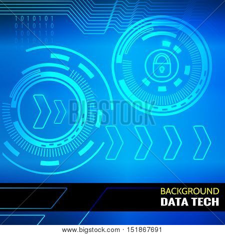 Abstract vector background for data themes. Abstract vector background for data themes. Light cyber HUDs, arrows, binary code on atmospheric background. Elements for data control and protection design.