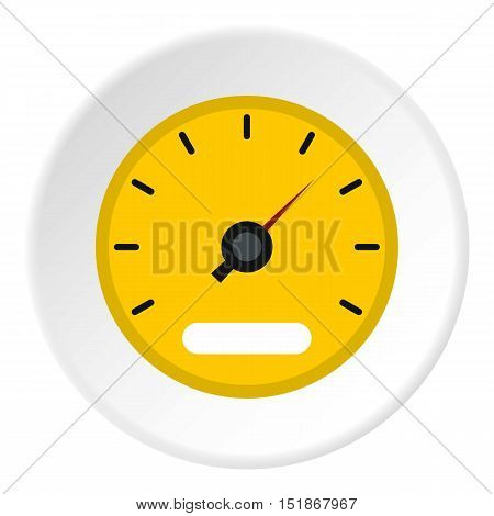Yellow speedometer icon. Flat illustration of yellow speedometer vector icon for web