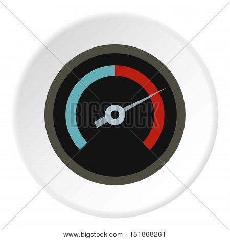 Speedometer for cars icon. Flat illustration of speedometer for cars vector icon for web