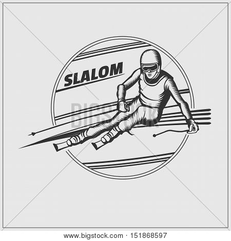 Slalom label. Athlete on the downhill. Vector monochrome Illustration.