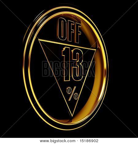Oro metal 13% apagado en negro