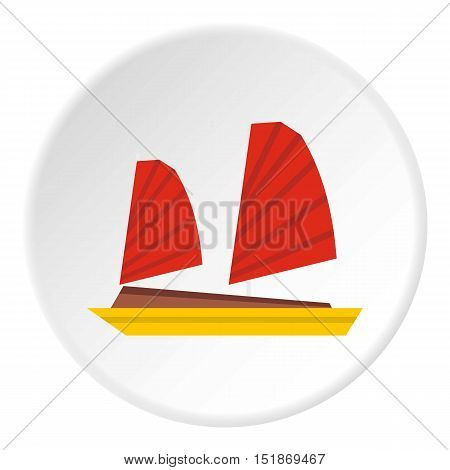Vietnamese junk boat icon. Flat illustration of vietnamese junk boat vector icon for web